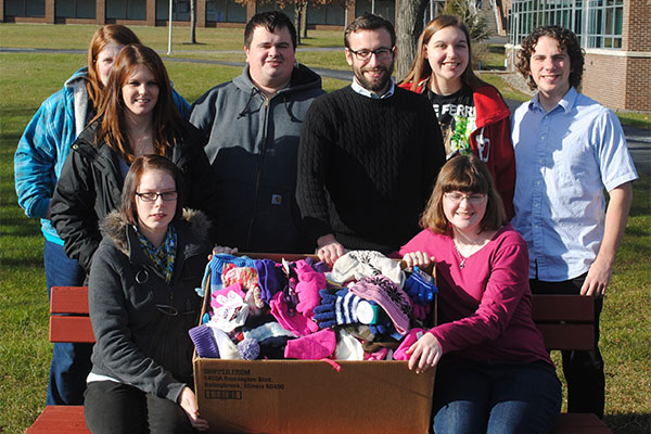 Herkimer County Community College students with donations