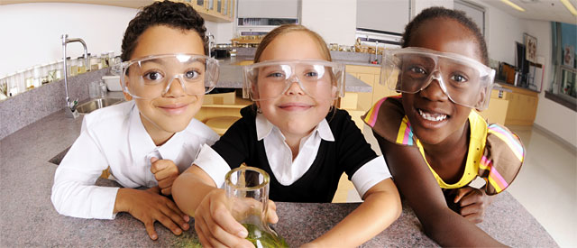 Cute Little Scientists at the STEM Afterschool Mentoring Program