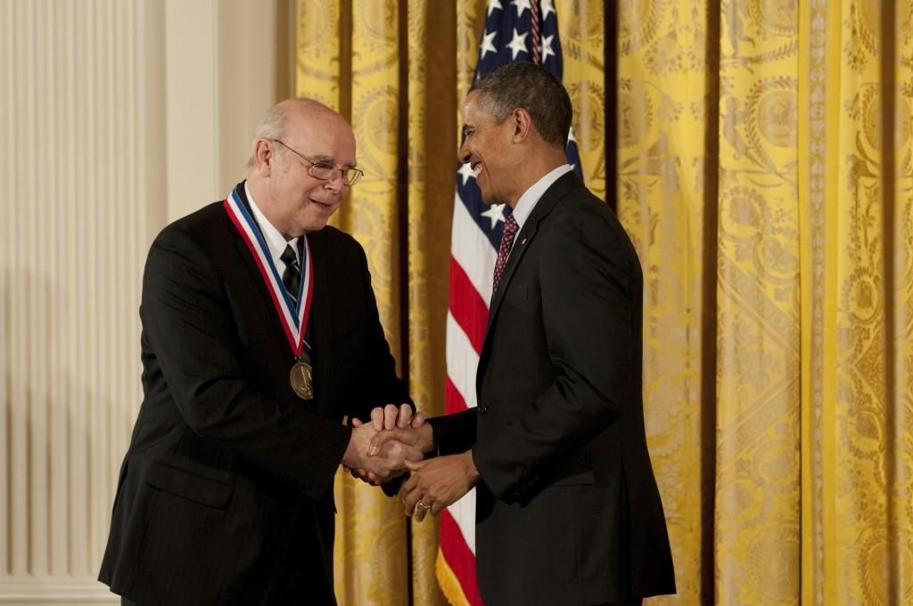 UB alum Norman McCombs with President Barack Obama