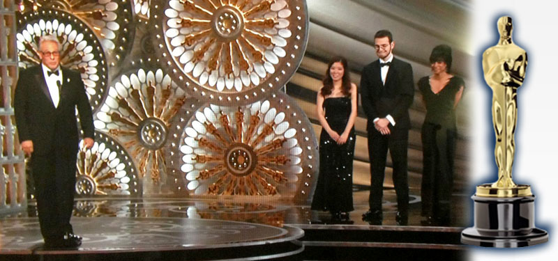 ChaRon Brabham of SUNY Potsdam on stage at the Oscars with other Oscar Experience Talent Search finalists