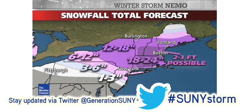 Stay up to date with Winter Storm Nemo on Twitter with #SUNYstorm