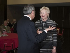 SUNY Chancellor Nancy Zimpher with SUNY Cortland President, Erik Bitterbaum, Wednesday, January 30.