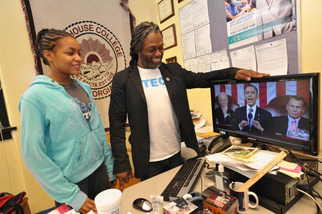P-TECH principal and student watch State of the Union address