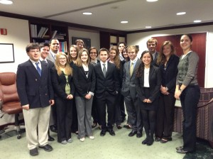 The SUNY Oneonta Model UN delegation, shown here with Croatian diplomat Lada Curkovic.