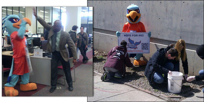 Hugo Hawk of New Paltz campaigns for Mascot Madness