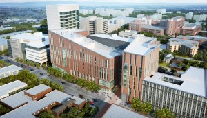 A view of the new medical school from Main Street in downtown Buffalo. Image: HOK