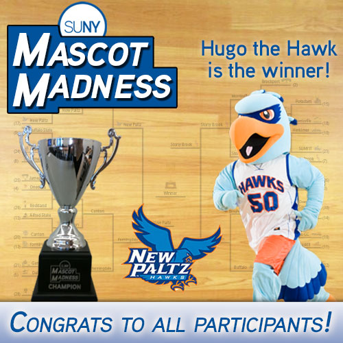 SUNY Mascot Madness winner - Hugo Hawk from New Paltz
