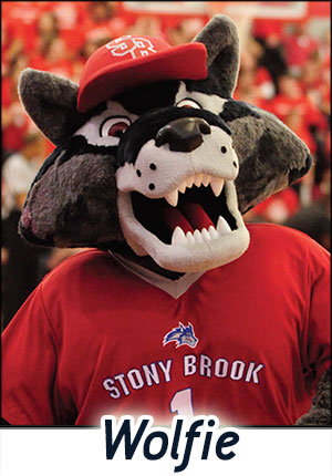 Wolfie the Seawolf from Stony Brook, at work at the game