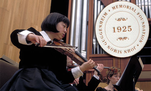 Buffalo violinist with John Simon Guggenheim  Memorial Foundation seal