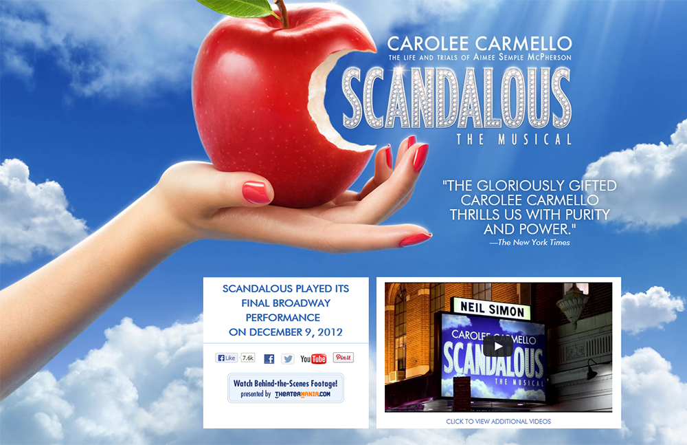 Scandalous the Musical website screen grab