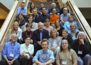 Alan Alda with participants in the 2012 Alan Alda Center for Communicating Science Fall Institute.