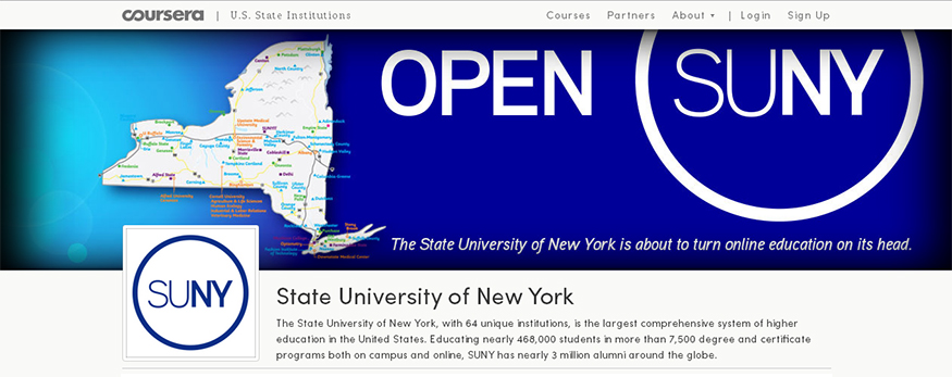SUNY Coursera partnership announcement - website screenshot
