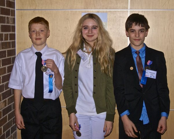 Essex Count science champions Liam Sayward, Vienna Ainsworth and Ben Caito