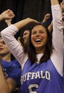 Hanna Teal cheering at a UBuffalo sports event