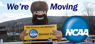 "Alfred State's Orvis the Pioneer with sign stating ""The Pioneers are moving to NCAA Division III"""