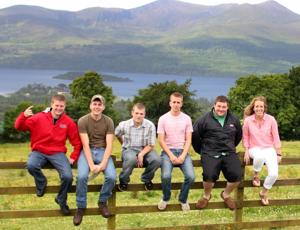 At the Ring of Kerry, Ireland are, from left; Marshall Hinz, Scott Smith, Adam Hill, Mitchell Ruth, Duncan Bailey, Justine Deming.