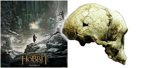 The Hobbit movie poster with Homo Floresiensis skull