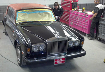 Alfred State students worked on Fireball Run Rolls Royce car