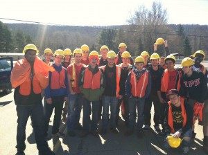 Alfred State Students Adopt a Highway Group pose together in construction vests