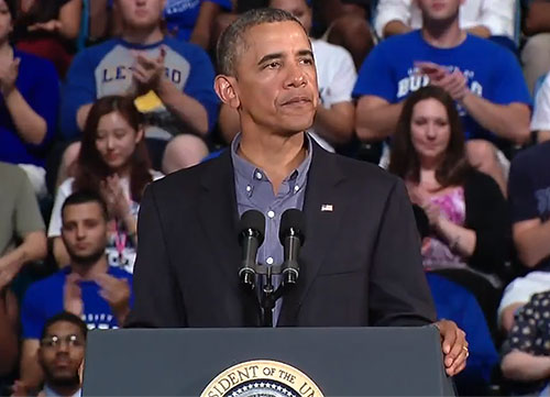 President Barack Obama delivers speech from podium at University at Buffalo arena