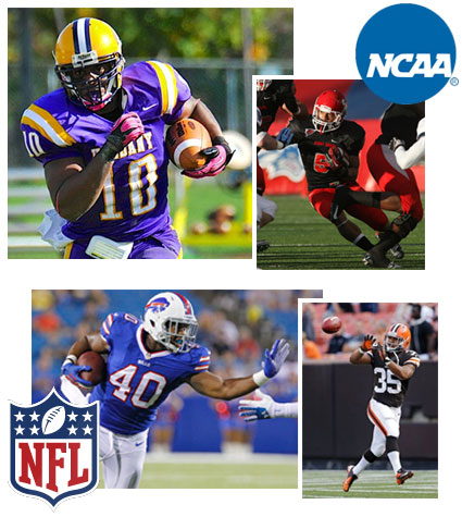 Drew Smith of UAlbany and Miguel Maysonet of Stony Brook with the NFL Bill and Browns