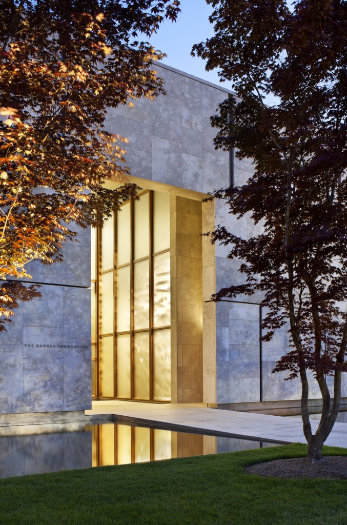 Entrance to the new Barnes Foundation Museum in Philadelphia designed by Tod Williams of Tod Williams Billie Tsien Architects.