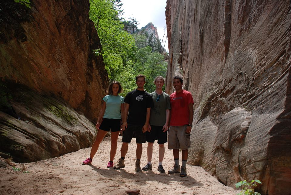 Four Binghamton University students at Zion National Park