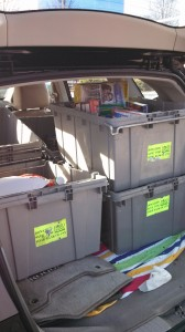 A car packed with donations from food drives in central NY