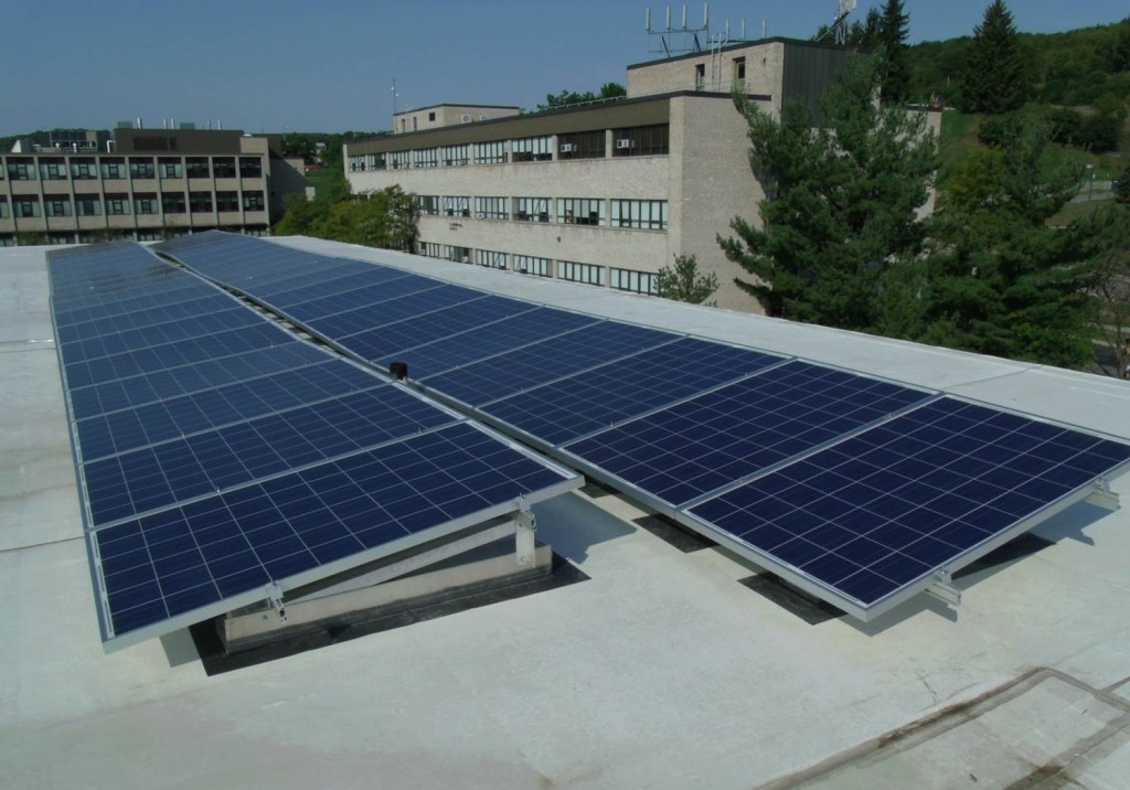 Alfred State Physical and Health Sciences building roof with solar panels in rows