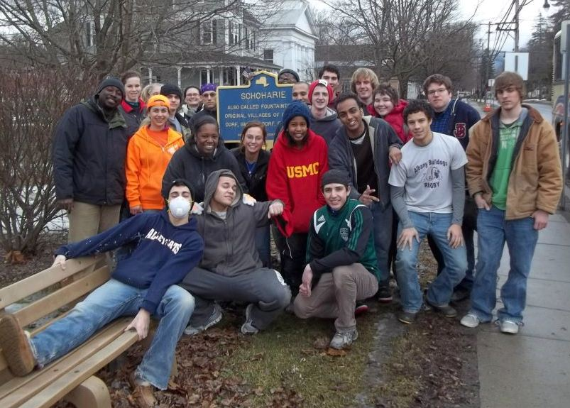 Hudson Valley Community College students during a day in Schoharie County spent helping with the S.A.L.T Recovery effort.
