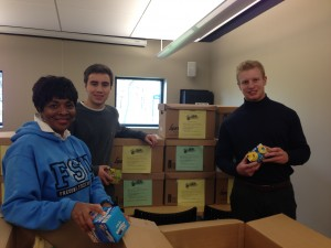 SUNY Fredonia Operation Breakfast Rescue - collecting and packing breakfast items for Rural Ministry Friendly Kitchen
