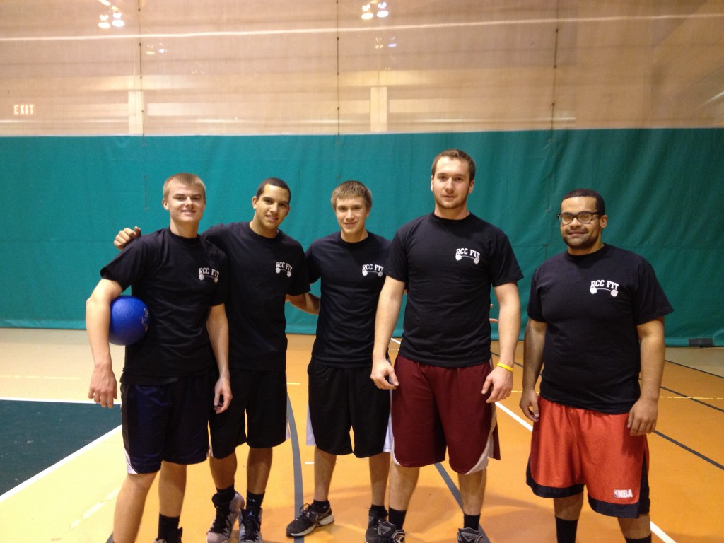 Rockland Community College male student dodgeball participants inside gym during Homes for Heroes