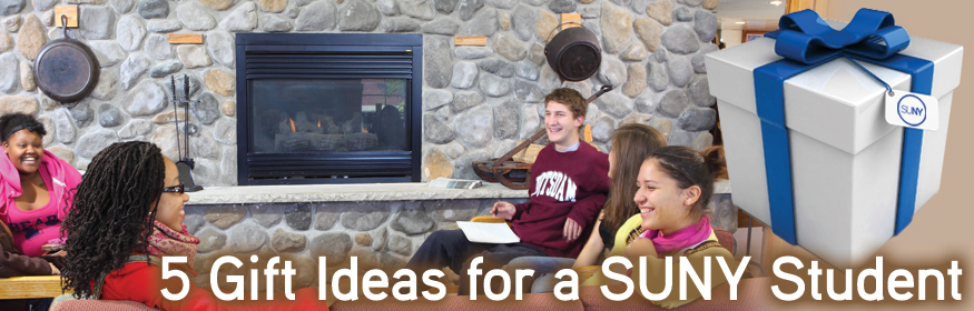 5 Gift Ideas for a SUNY Student - students sitting around a fireplace.