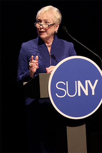 Chancellor Nancy Zimpher speaks at the 2014 SUNY State of the University Address