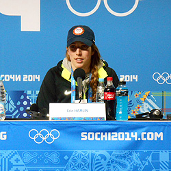 Erin Hamlin '11, replies to questions at a press conference immediately after winning a bronze medal in luge, women's singles, at the 2014 Winter Olympics. Photo/USA Luge