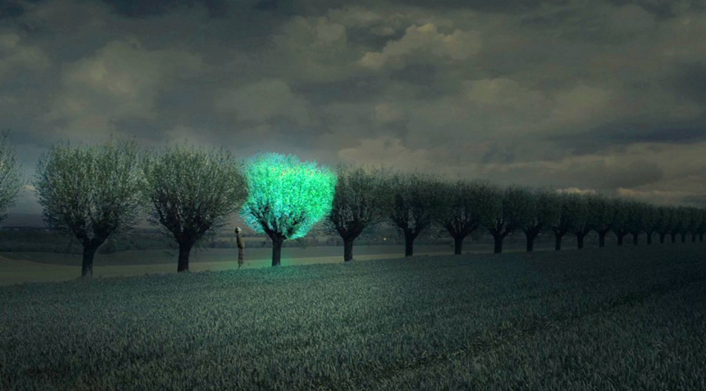 Bioluminescent Tree rendering in farm plain.