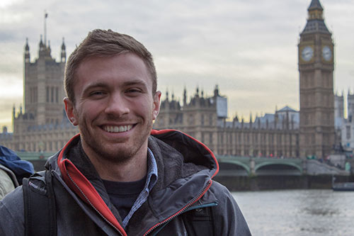 Jonnathan Griffin, student at SUNYIT, in London near Big Ben