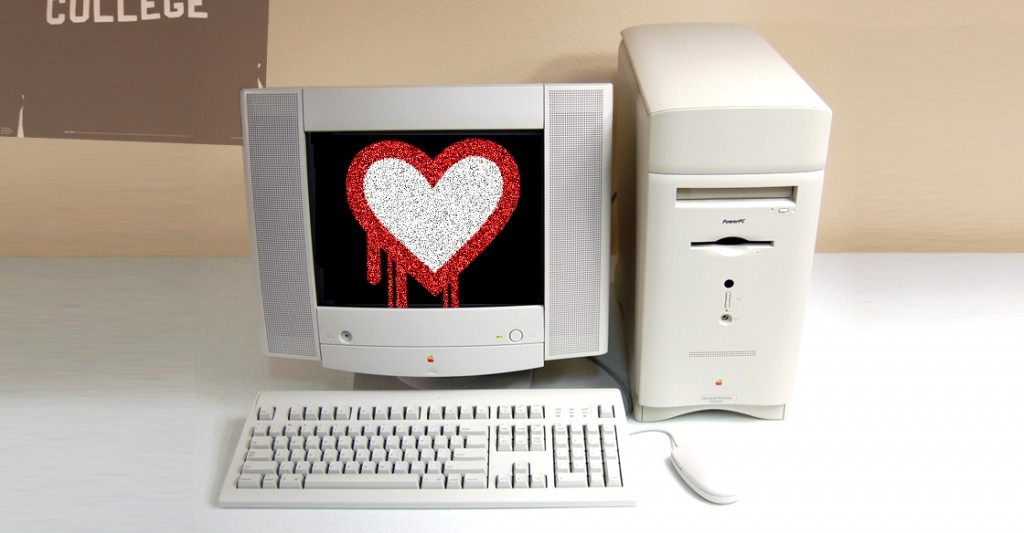 Computer  keyboard and monitor with red heart dripping on it. What is Heartbleed?
