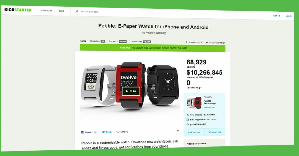 Kickstarter campaign for Pebble smartwatch. How to make this successful.
