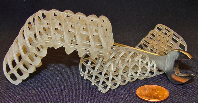 3D-printed soft, flexible scaffolds that can be used to build robot material.