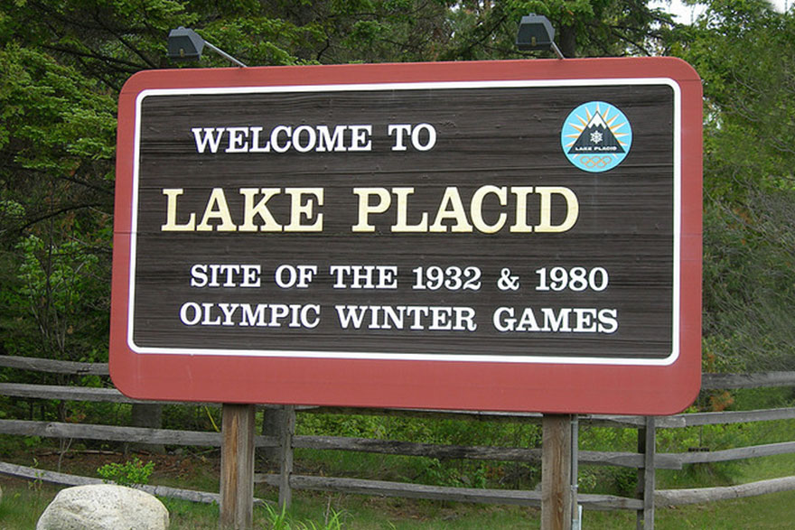 Welcome to Lake Placid sign