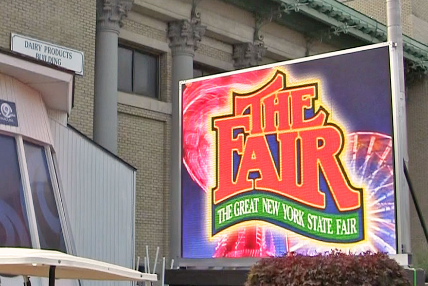 New York State Fair sign at fairgrounds.