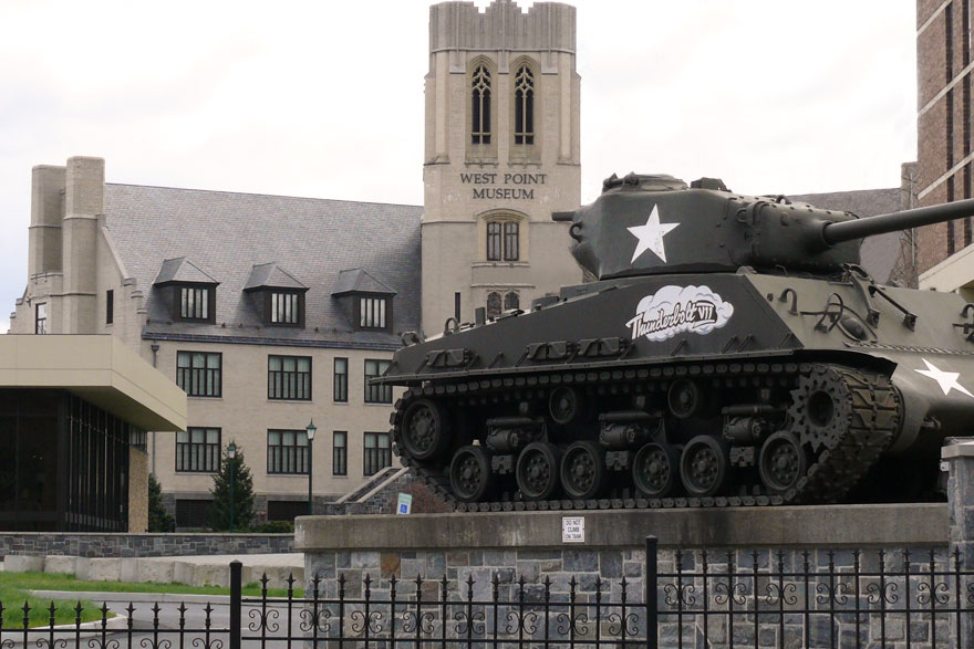 West Point museum exterior with tank on display.