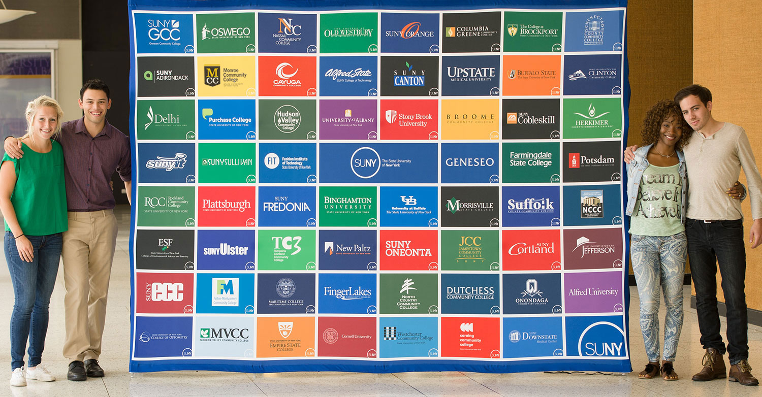 Students stand near a SUNY banner with 64 campus logos.