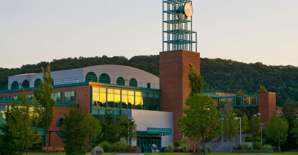 Binghamton University building at sunset