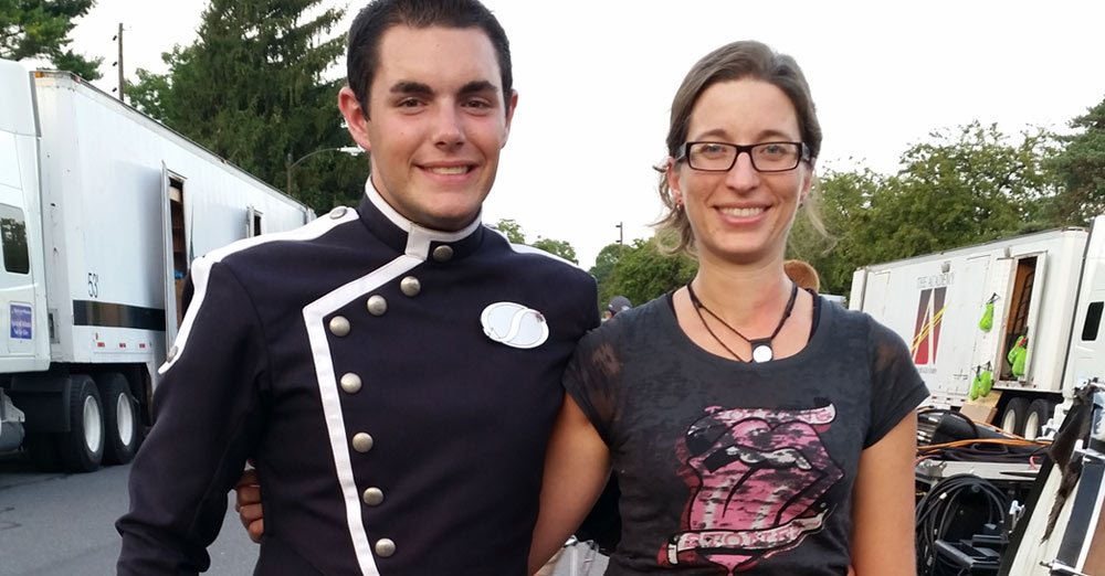 SUNY Oneonta junior Michael Morales with Assistant Professor of Music Julie Licata at a drum corps show in Allentown, Pa.