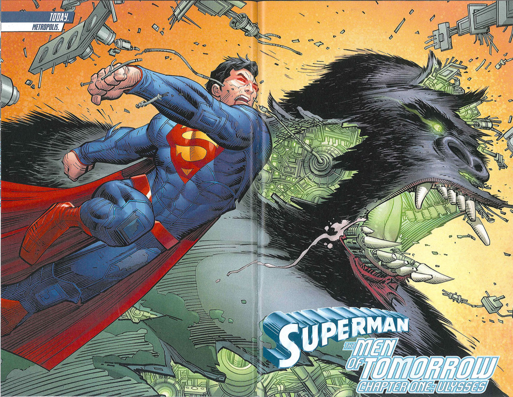 Superman comic book spread by John Romita Jr.