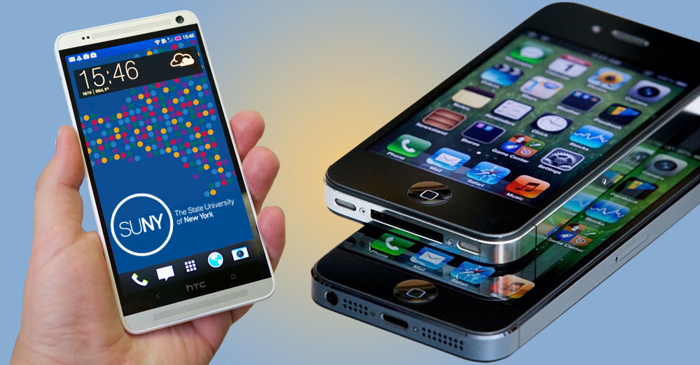 Smartphones with apps on screen.