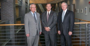 L-R: Doon Gibbs, Lab Directory at Brookhaven National Lab; Samuel Stanely Jr, President of Stony Brook University, Ron Townsend, Executive Vice President of Global Lab Operations at Battelle