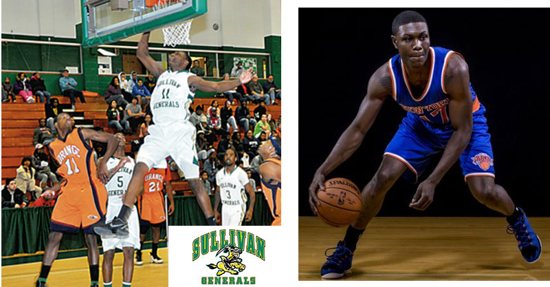 Cleanthony Early in uniform for SUNY Sullivan and the New York Knicks